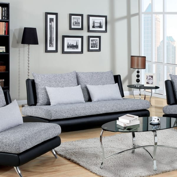 Furniture Of America Kanchy Two Tone Fabric And Leatherette Sofa Inside Two Tone Sofas (View 9 of 15)