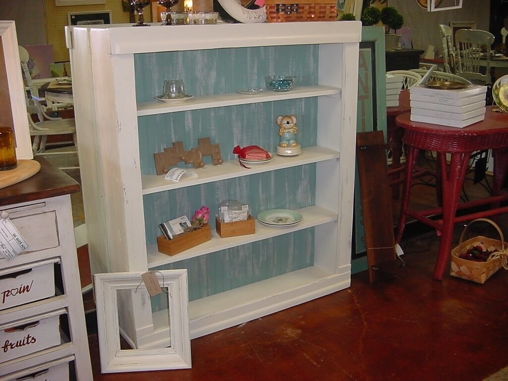 Furniture Refined Distressed Bookcase And White Hand Painted For Hand Painted Bookcase (#10 of 15)