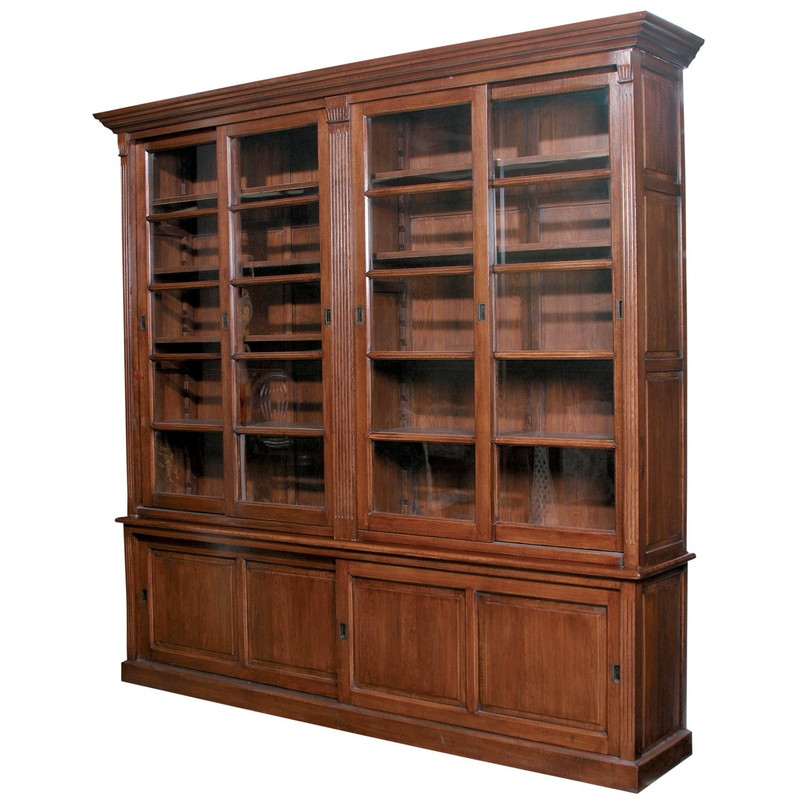 Furniture Un Polish Wooden Bookcase With Glass Doors Chiltern Oak For Large Wooden Bookcases (View 13 of 15)