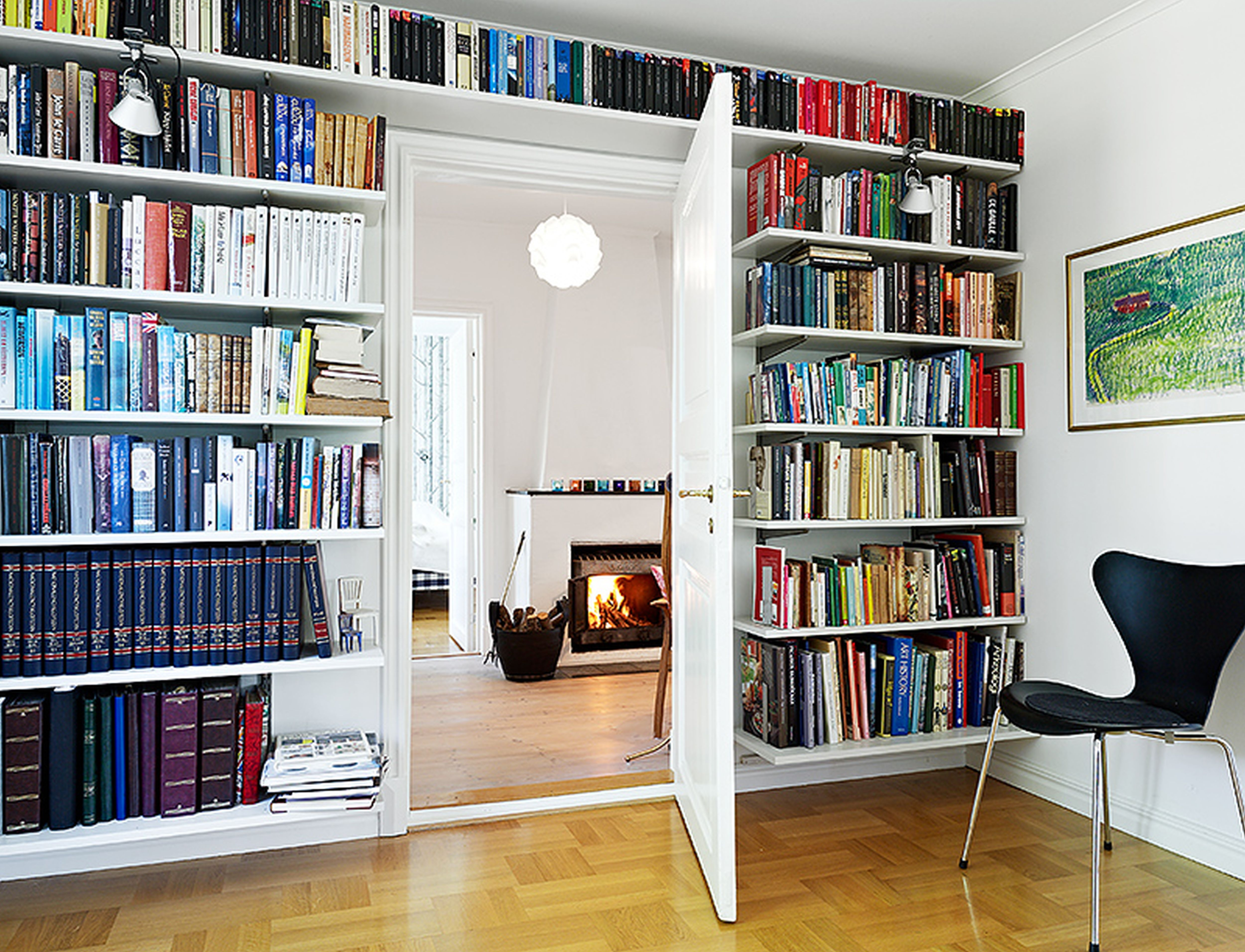 Furniture Wall Modern Bookshelves With Large Shape With Long Throughout Wall To Wall Bookcase (#6 of 15)