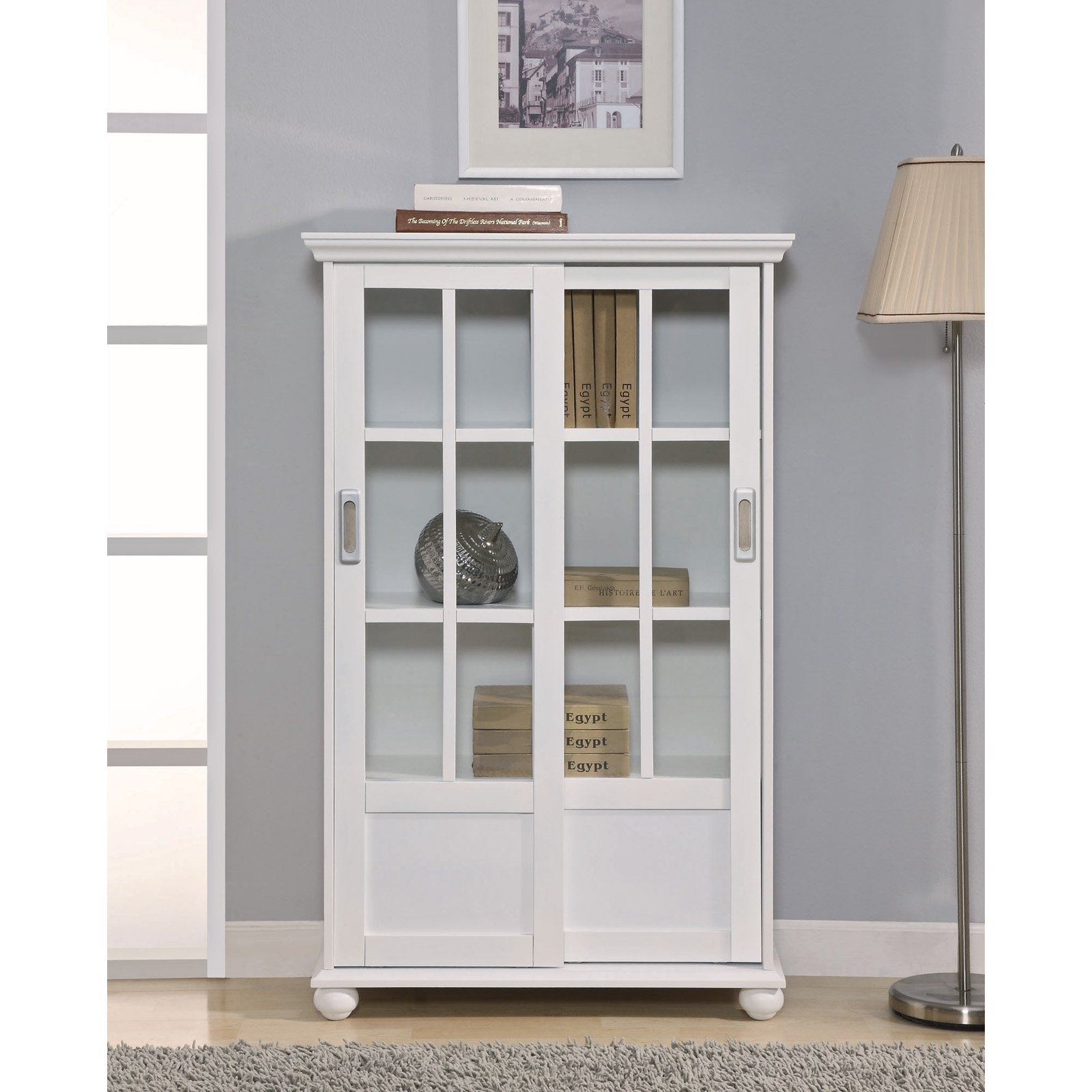 Furniture White Wooden Book Cabinet With Sliding Glass Door Added Pertaining To High Quality Bookcases (View 8 of 15)