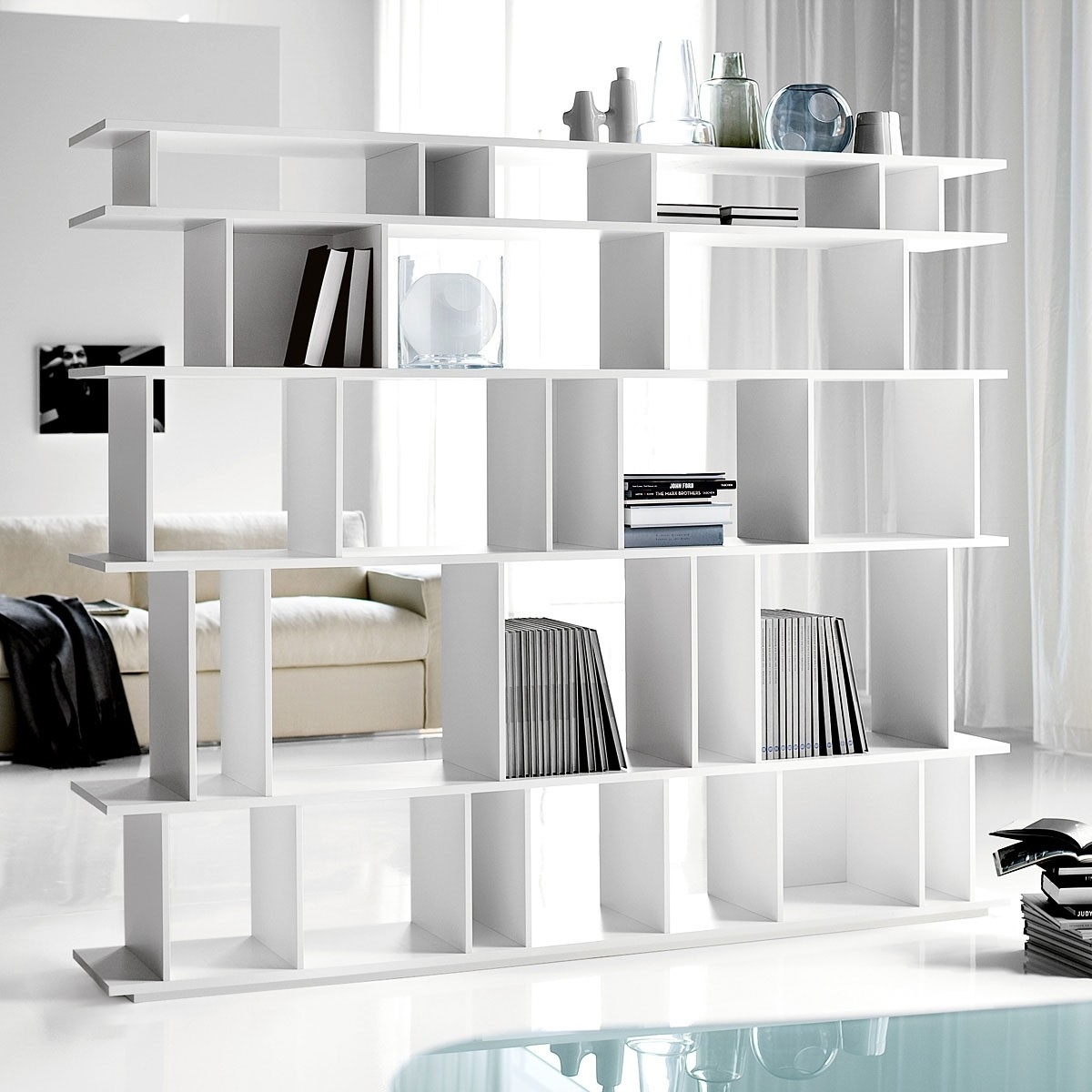 Furniture Wonderful Modern L Shape Kitchen Decoration Using Regarding Free Standing White Shelves (View 6 of 15)