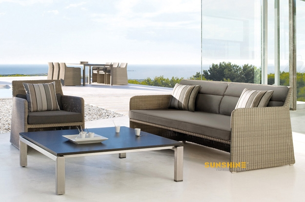 Garden Lounge Sofa Outdoor Furnituremodern Rattan Furniture With Modern Rattan Sofas (#4 of 15)