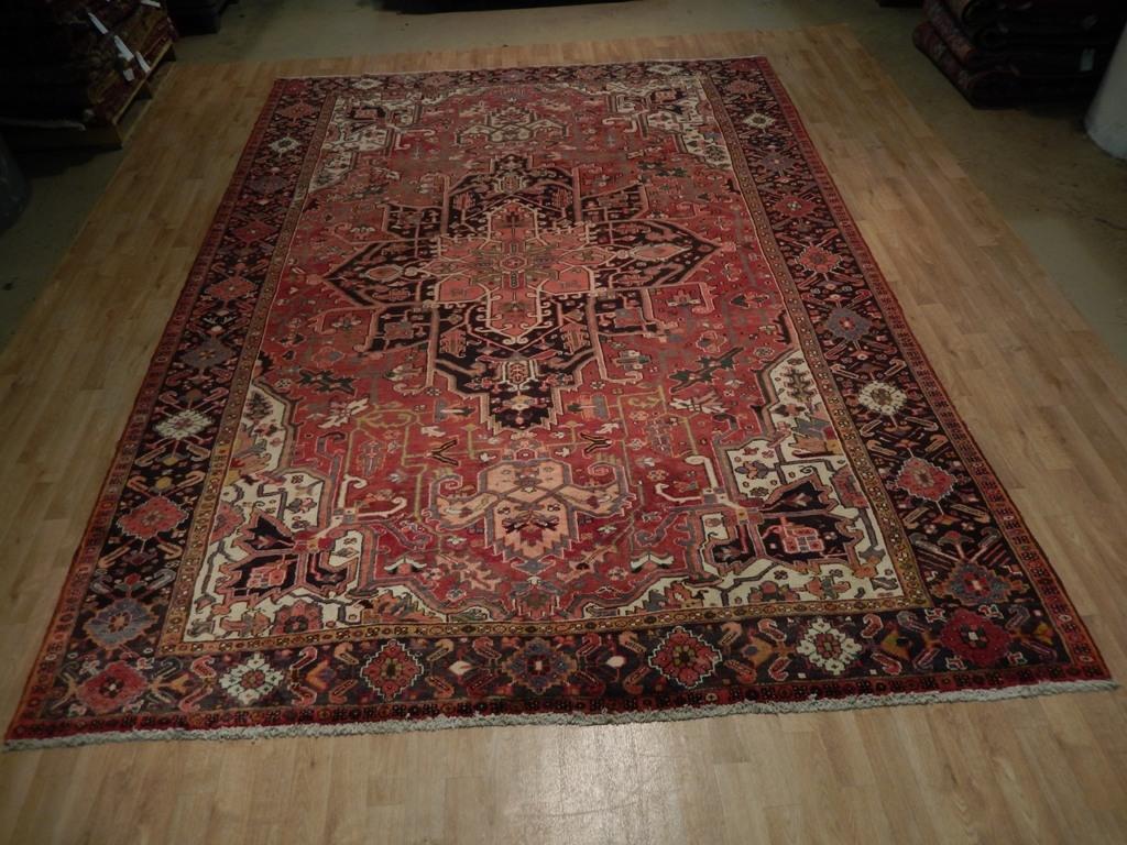 Genuine Handmade Area Rug 8 X 12 Persian Heriz Organic Wool For Organic Wool Area Rugs (#5 of 15)