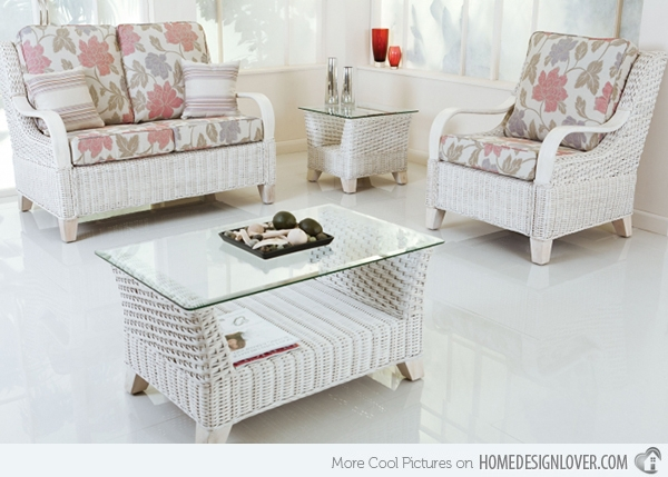 Popular Photo of White Cane Sofas