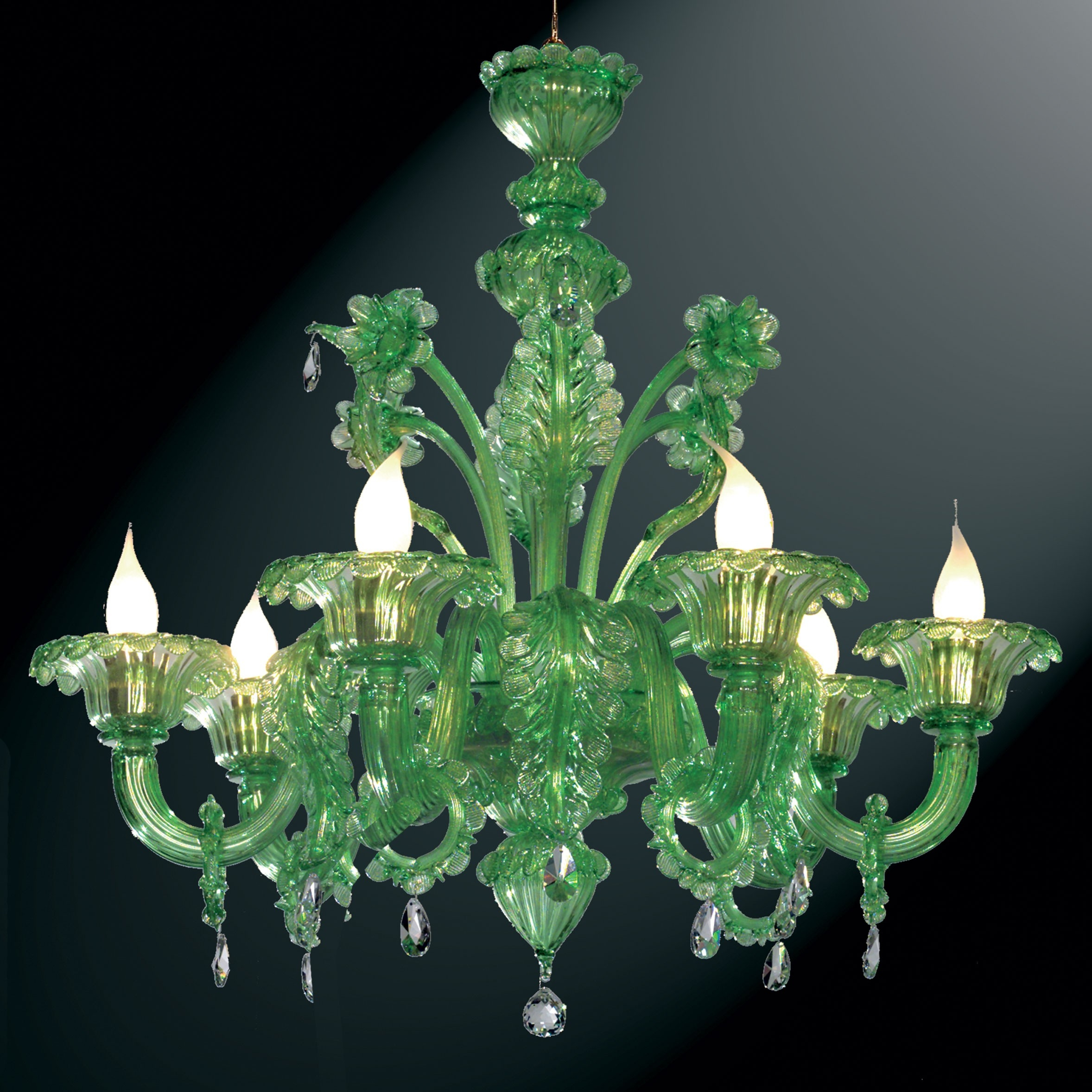 Giada Green Murano Glass Chandelier Murano Glass Chandeliers Within Glass Chandeliers (#3 of 12)