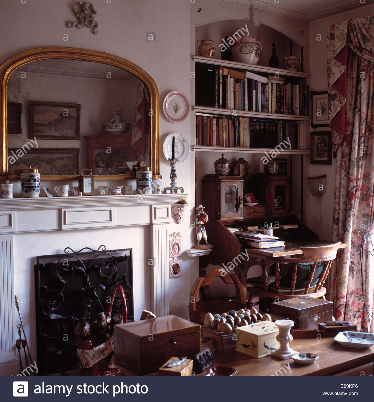 Gilt Mirror Above Fireplace In Study With Bookshelves Above With Study Bookshelves (View 13 of 15)