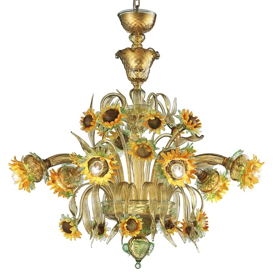 Girasole Sunflowers Murano Glass Chandelier Murano Glass Inside Murano Chandelier (#5 of 12)