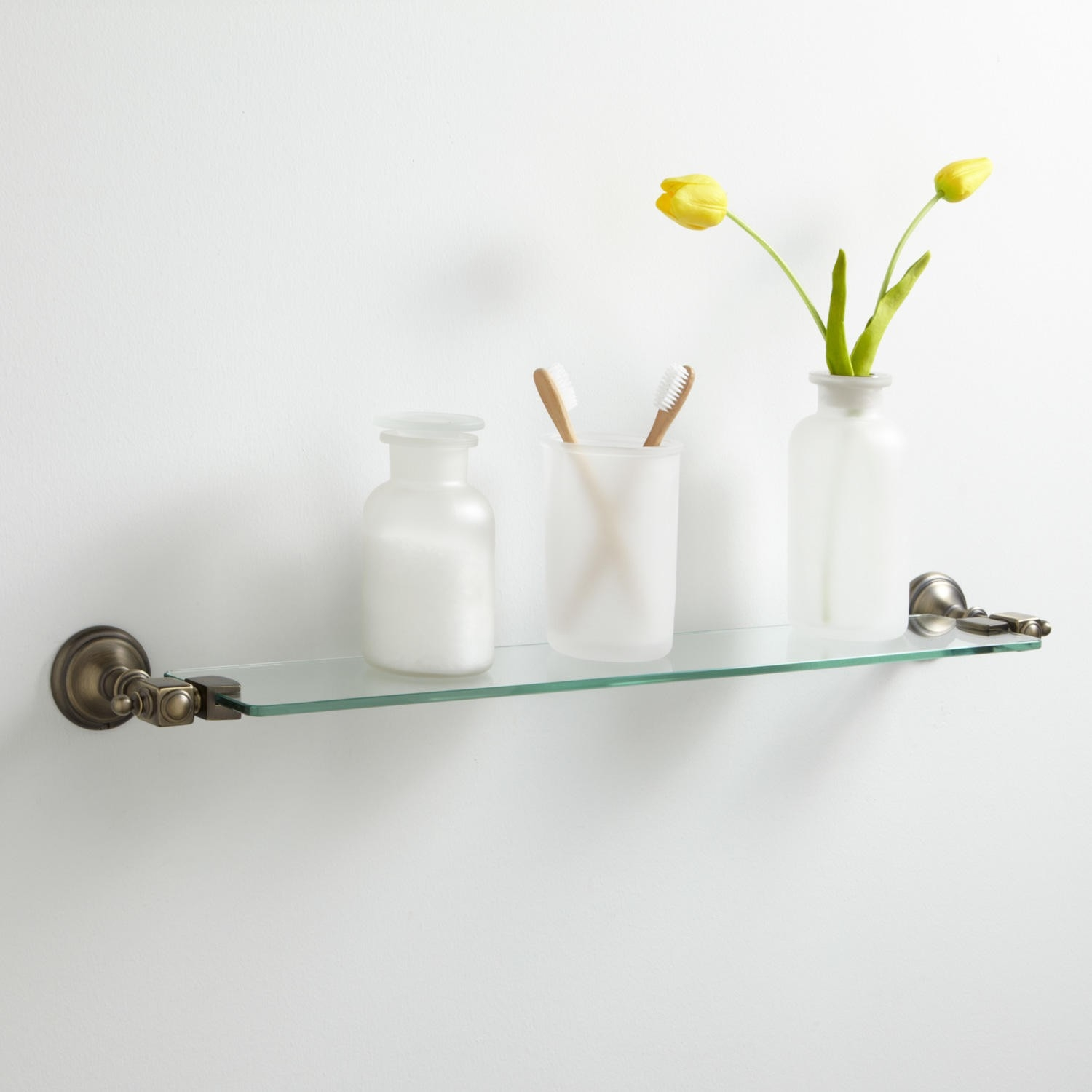 Glass Bathroom Shelves In Clear Glass Floating Shelves (#12 of 15)