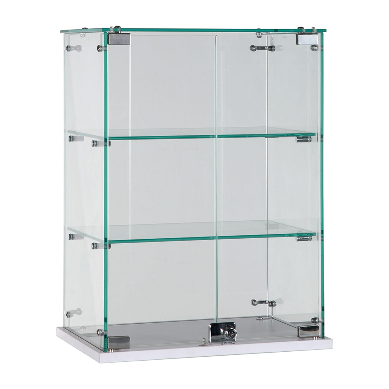Glass Counter Top Showcase With 2 Shelves Lockable Door 450 W X Throughout Glass Shelf Fittings (View 3 of 12)