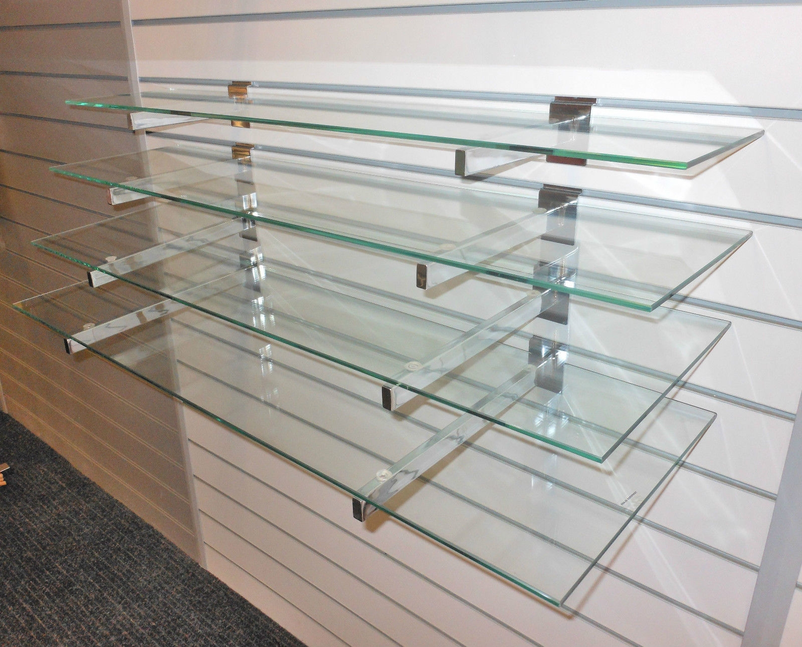Glass Display Shelves Ebay With Hanging Glass Shelves Systems (#5 of 12)