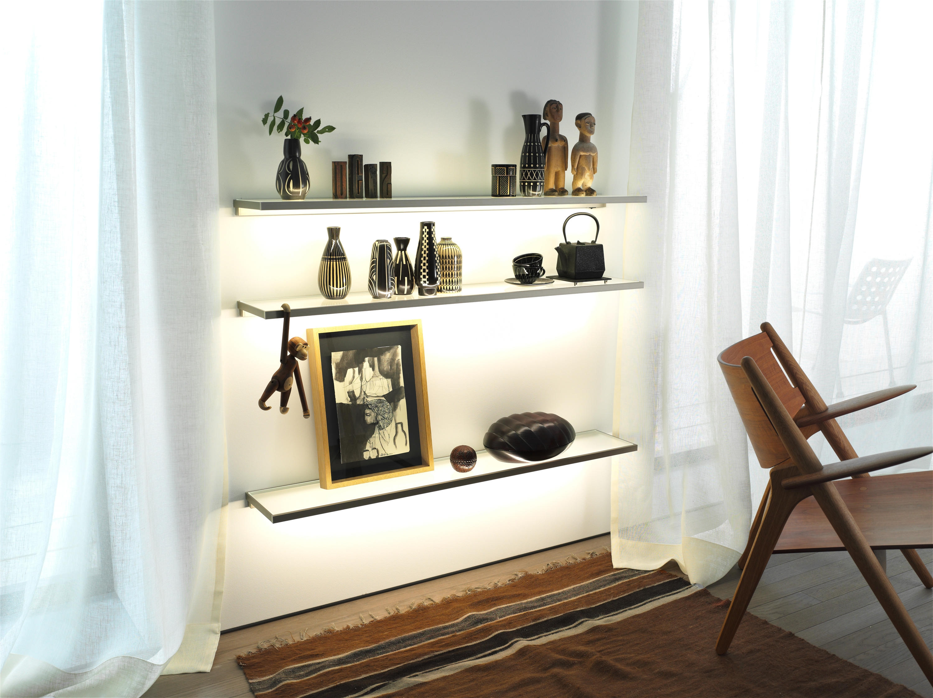 Glass Shelf Gera Light System 4 Illuminated Shelving From Gera For Living Room Glass Shelves (#4 of 12)