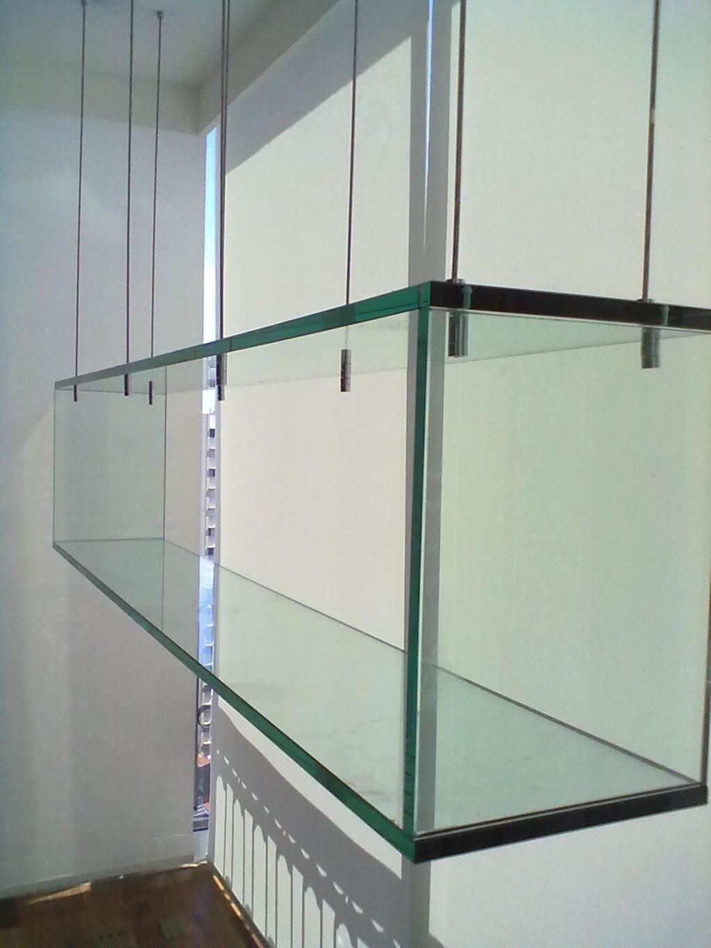 Glass Shelves 60 Cool Designs And Ideas To Decorate Home Decoo Pertaining To Cable Suspended Glass Shelving (#3 of 15)