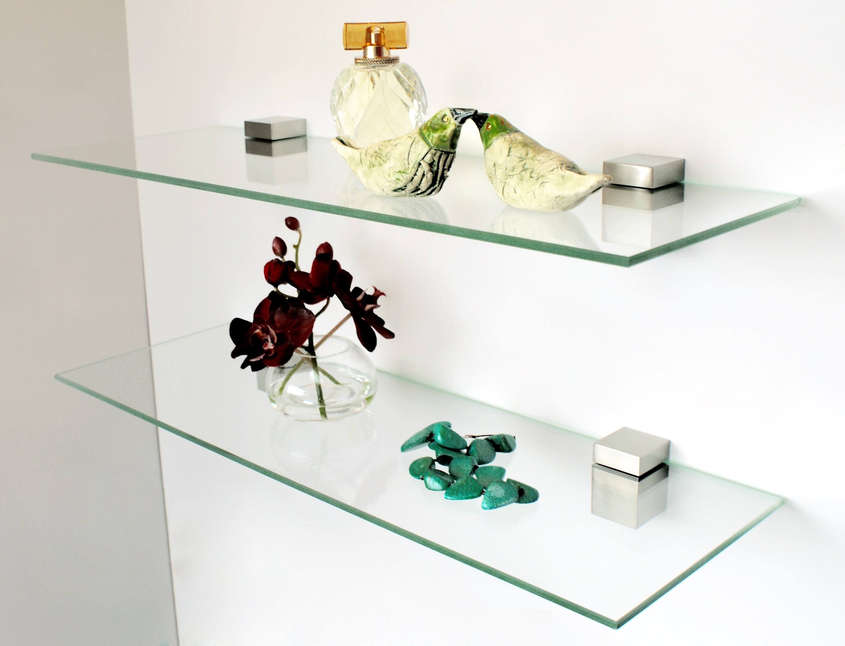 Glass Shelving Bronze Glass Shelf Bracket Supports Design Regarding Glass Suspended Shelves (#5 of 15)