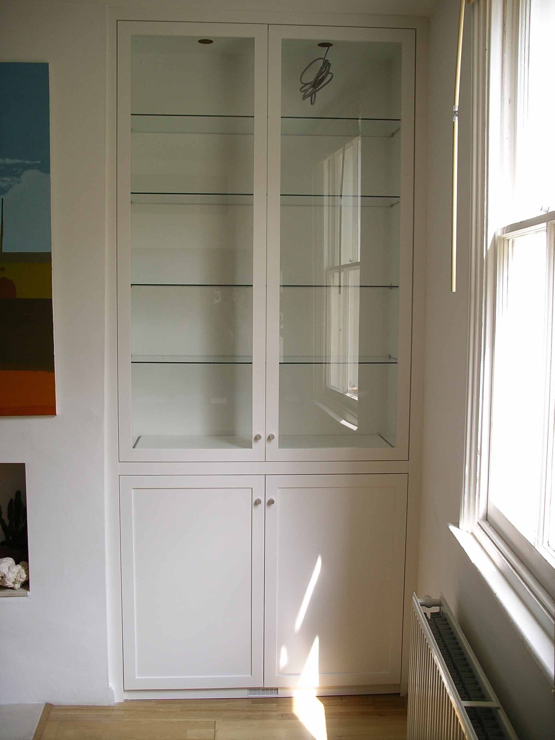 Glazed Alcove Cabinet Flush Uniform Depth Except Using White For Handmade Cupboards (#7 of 12)