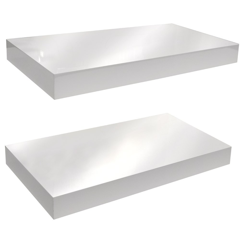 Gloss Wall Mounted 40cm Floating Shelf Pack Of Two Black For Floating Shelf 40cm (#6 of 15)
