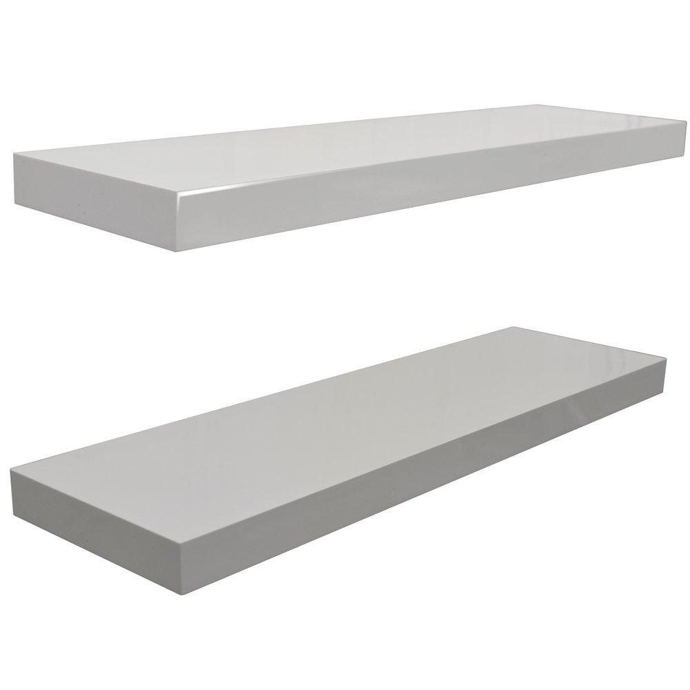 Gloss Wall Mounted 40cm Floating Shelf Pack Of Two White With Regard To 40cm Floating Shelf (#7 of 12)