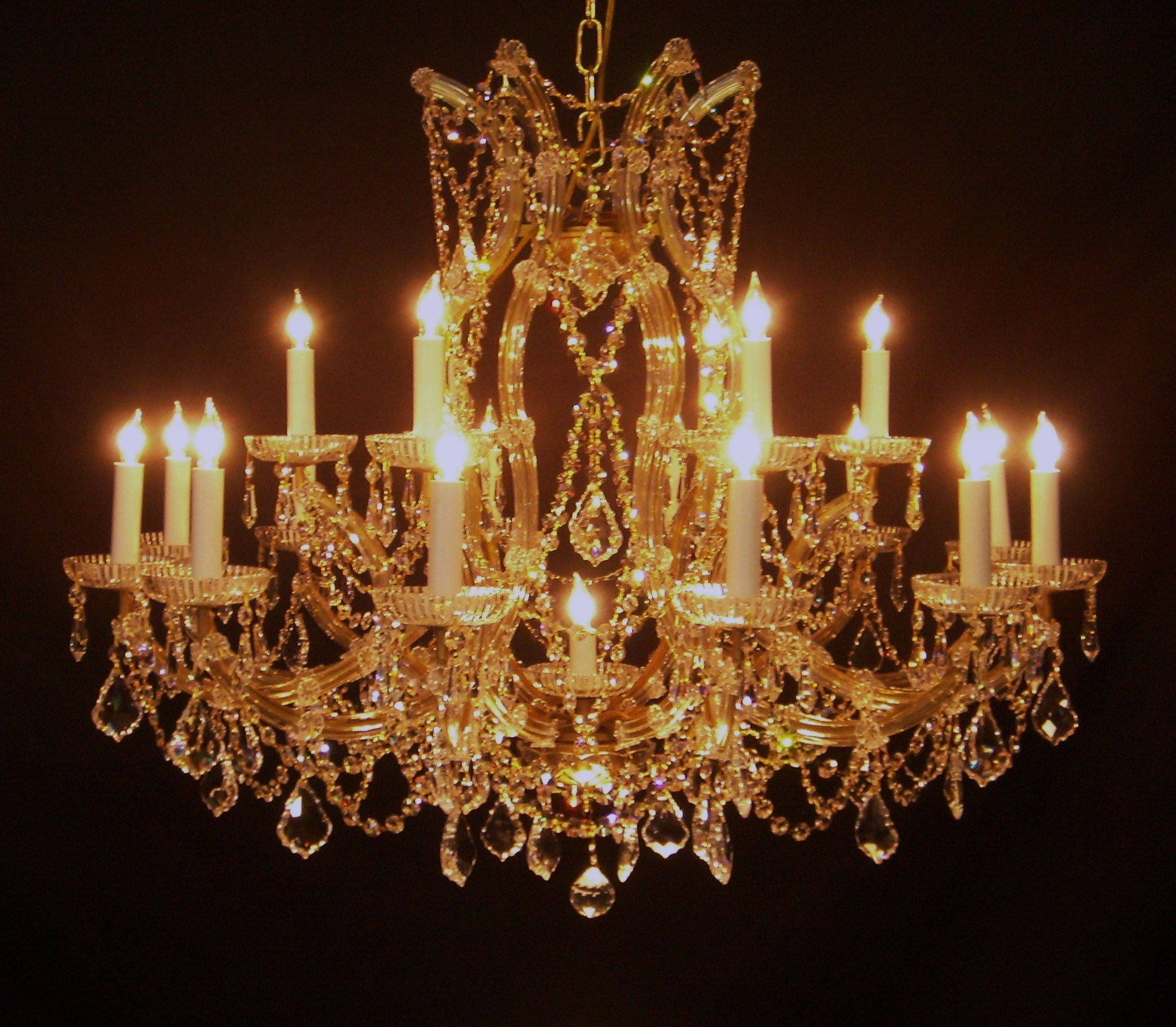 Popular Photo of Crystal Gold Chandelier