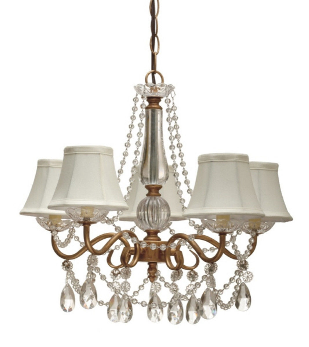 Gold Arm Crystals Chandelier 5 Silk Shades Lamp Shade Pro Regarding Crystal Gold Chandelier (#10 of 12)