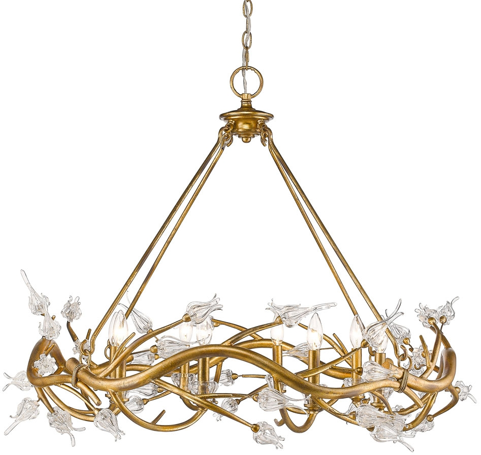 Golden Lighting 9942 8 Gl Aiyana Modern Gold Leaf Chandelier Light Regarding Gold Leaf Chandelier (#9 of 12)