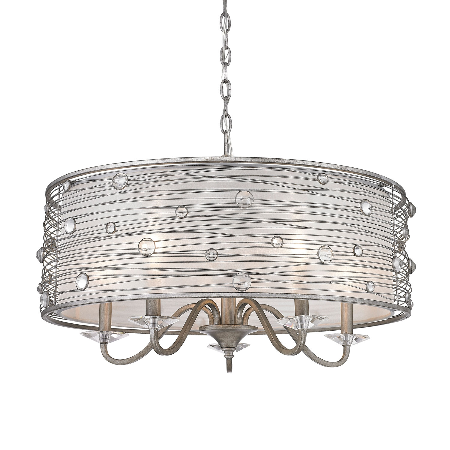 Golden Lighting Joia Peruvian Silver Five Light Chandelier On Sale For Silver Chandeliers (#7 of 12)