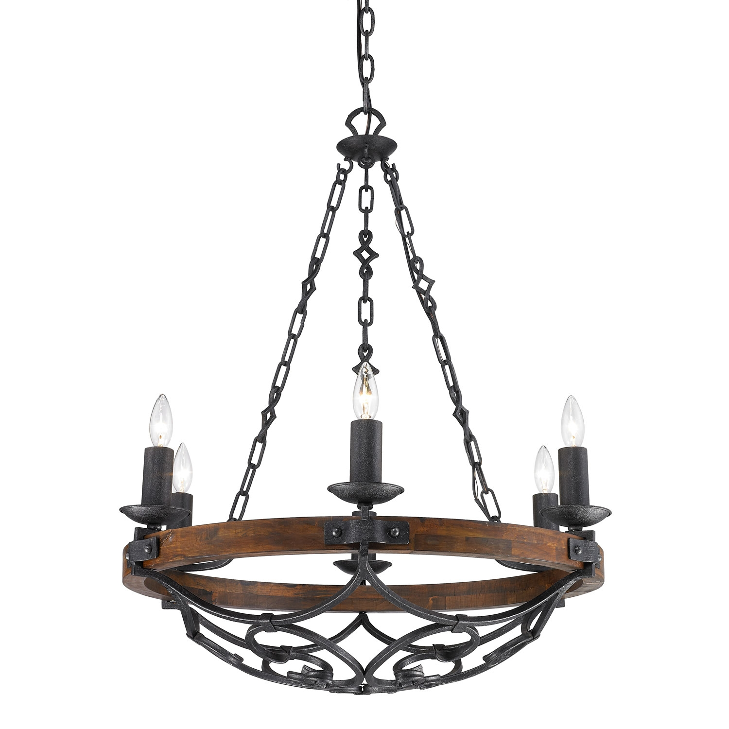 Golden Lighting Madera Black Iron Six Light Chandelier On Sale For Iron Chandelier (#5 of 12)