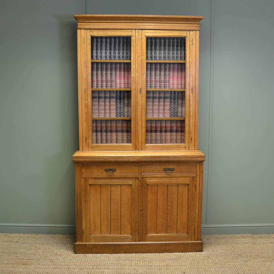 Golden Oak Antique Victorian Glazed Bookcase On Cupboard Inside Glazed Bookcases (#7 of 15)