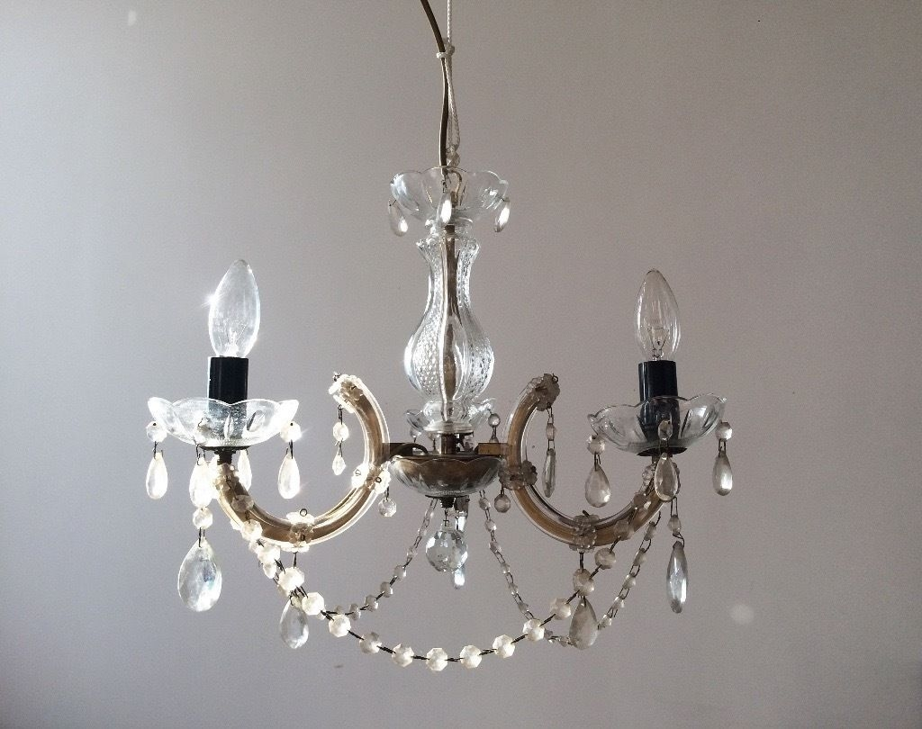 Gorgeous Vintage Glass Droplet Chandelier In Newcastle Tyne And Intended For Glass Droplet Chandelier (#7 of 12)