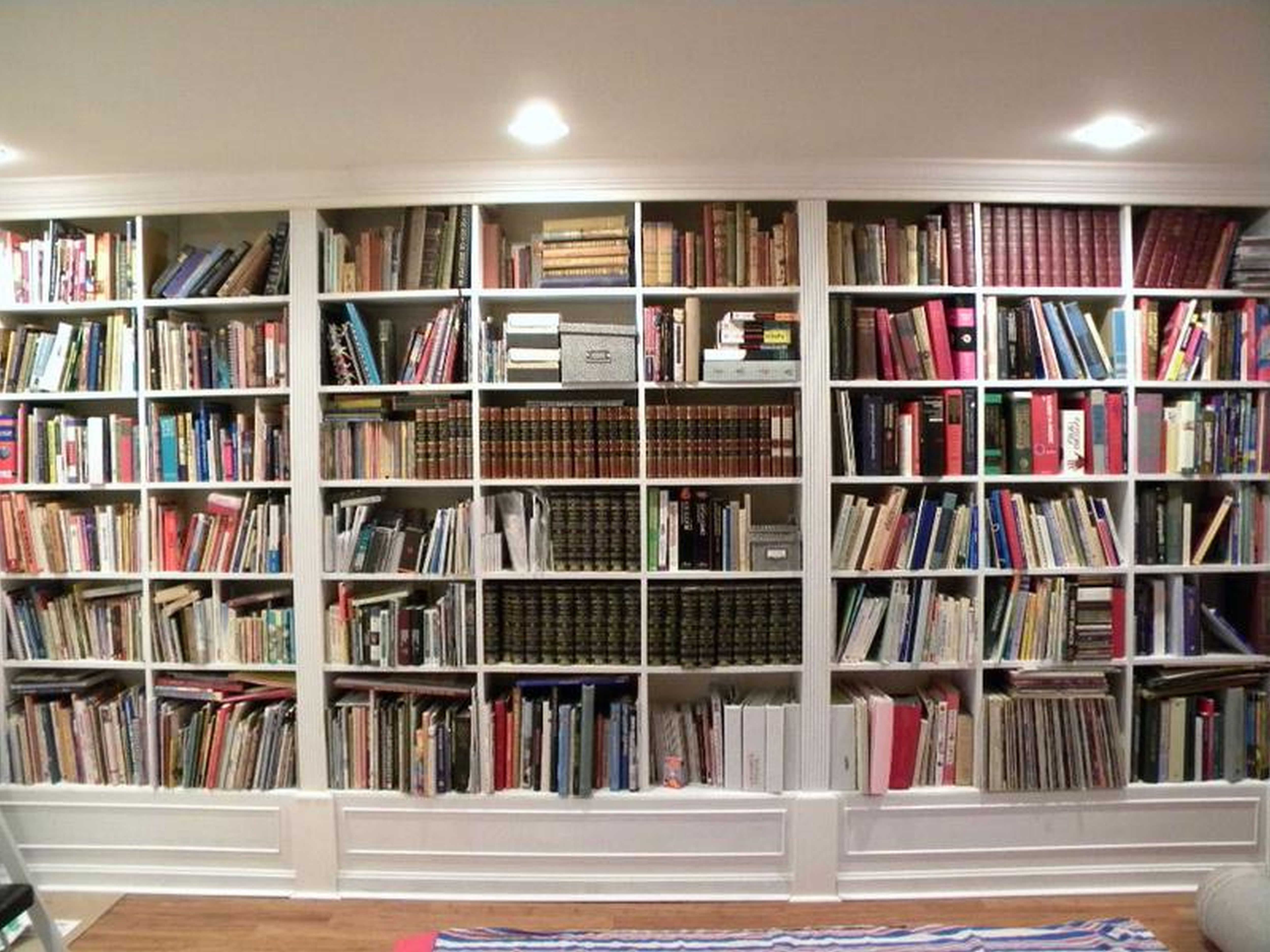 Gorgeous White Wooden Built In Large Bookshelf Ideas For Home Within Library Bookcase Lighting (View 2 of 15)
