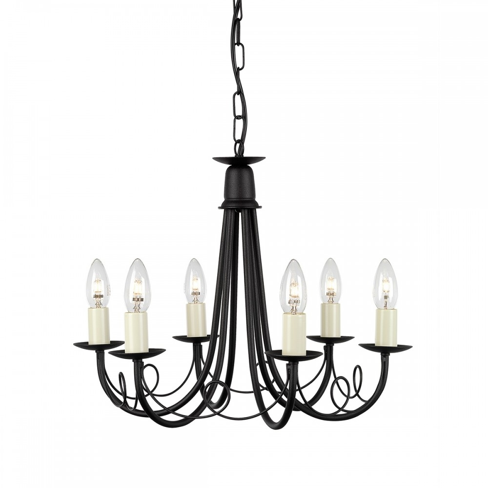 Gothic 6 Arm Chandelier In A Black Finish Mn6 Black Regarding Black Gothic Chandelier (View 12 of 12)