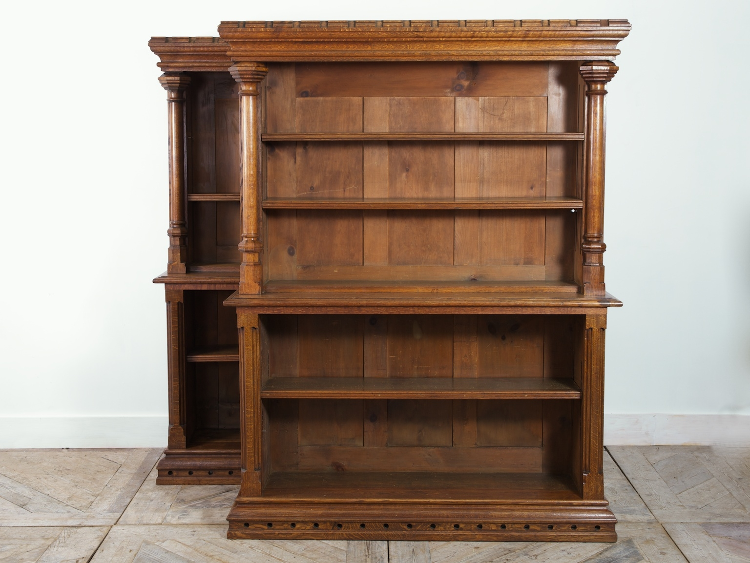 Gothic Style Oak Bookcases 1900s Set Of 2 For Sale At Pamono Pertaining To Oak Bookcases (View 4 of 15)
