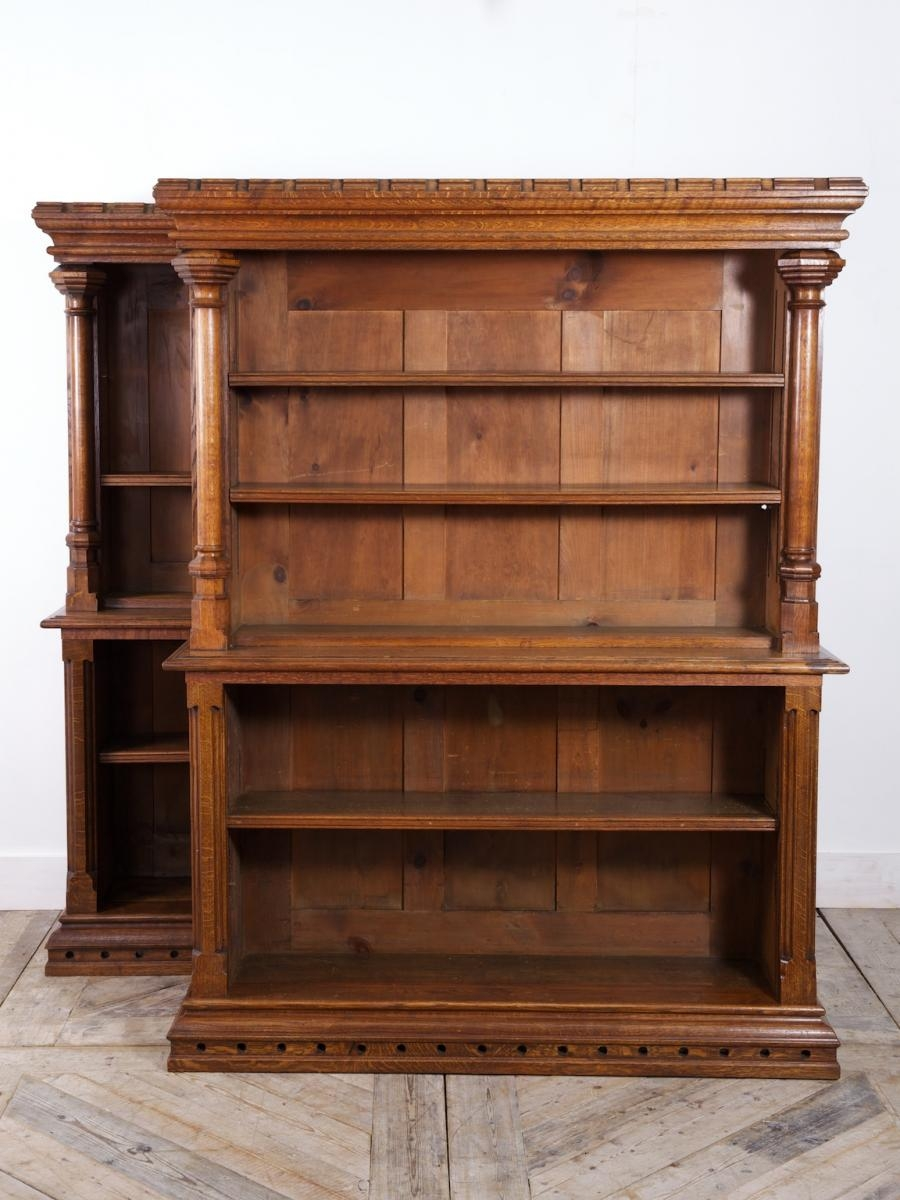 Gothic Style Oak Bookcases 1900s Set Of 2 For Sale At Pamono Within Oak Bookcases (View 15 of 15)