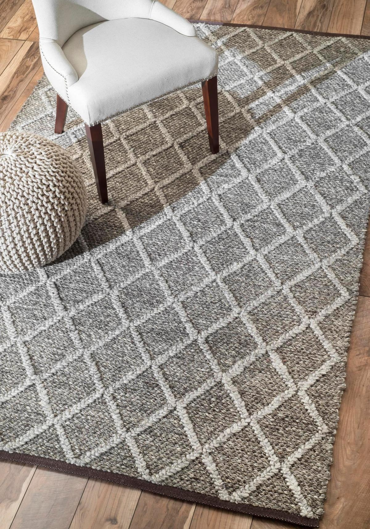 Gray Trellis Rug Tuscan Vs169 Double Carved Trellis Rug Trellis Throughout Flat Weave Wool Area Rugs (#6 of 15)