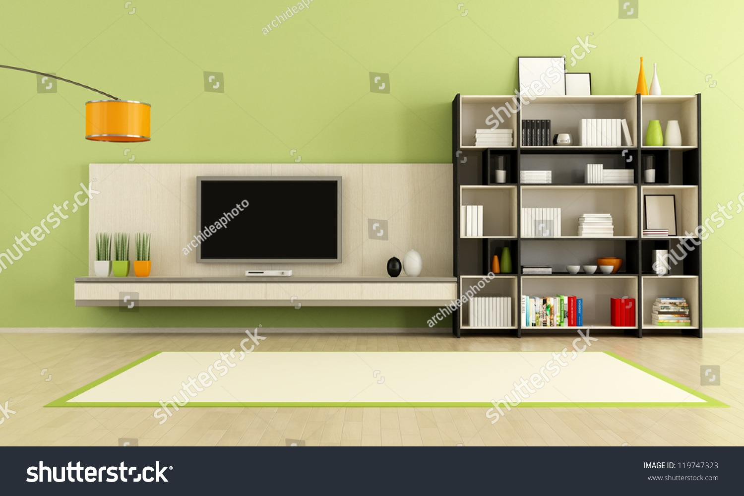 Green Living Room Tv Stand Bookcase Stock Illustration 119747323 In Bookcase With Tv Stand (View 9 of 15)