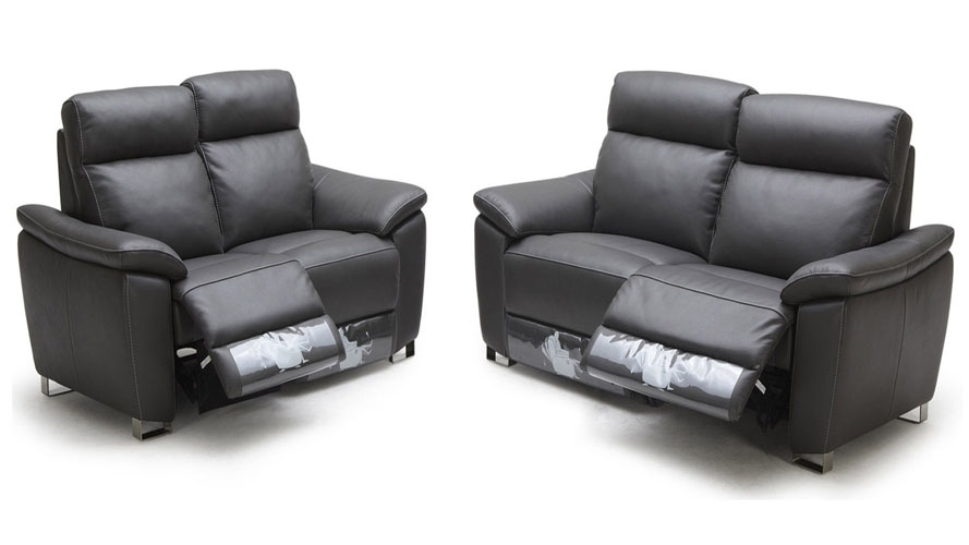 Grey Legian Reclining Leather Sofa Set With Loveseat And Chair Within 2 Seater Recliner Leather Sofas (#8 of 15)