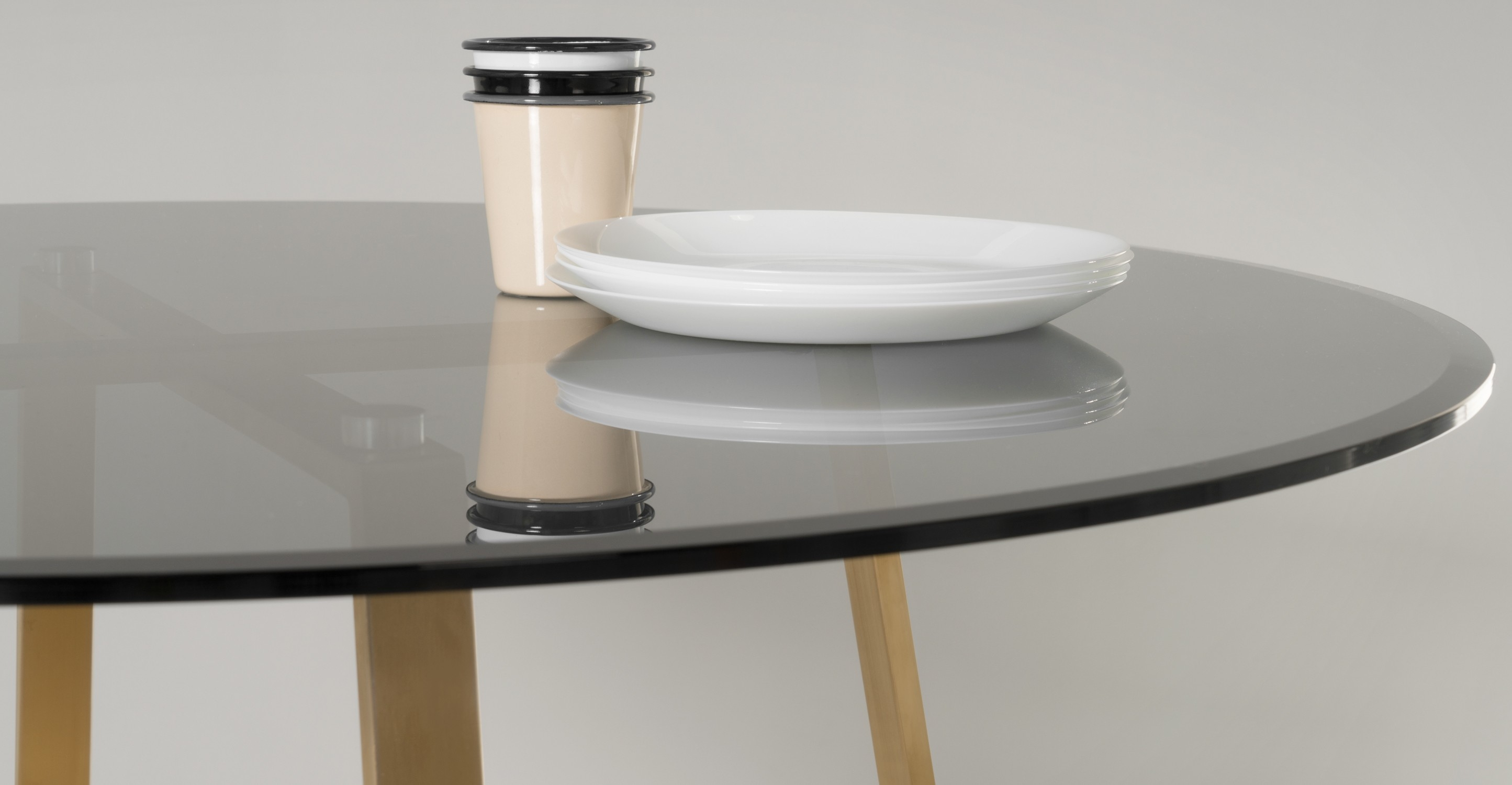 Haku Round Large Dining Table Brass And Smoked Glass Made Inside Smoked Glass Shelf (View 9 of 12)