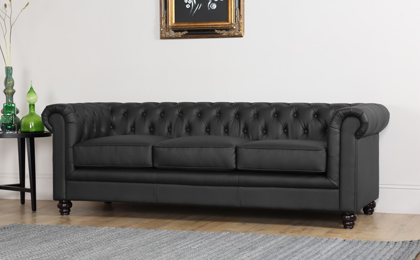 Hampton 3 Seater Leather Chesterfield Sofa Black Only 59999 For Chesterfield Black Sofas (#11 of 15)