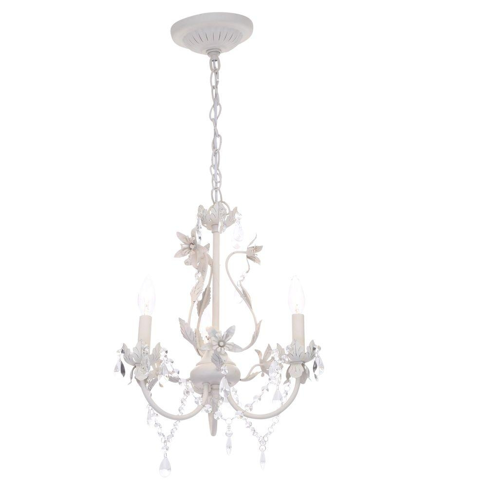 Hampton Bay 3 Light White Mini Chandelier 1000051535 The Home Depot With Regard To White Chandelier (#4 of 12)