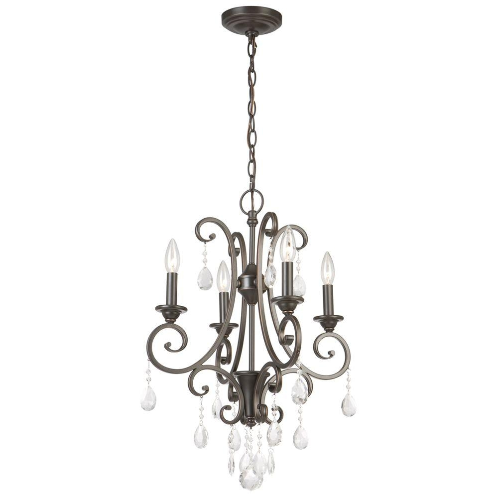 Hampton Bay 4 Light Oil Rubbed Bronze Crystal Small Chandelier With Regard To Small Bronze Chandelier (#6 of 12)