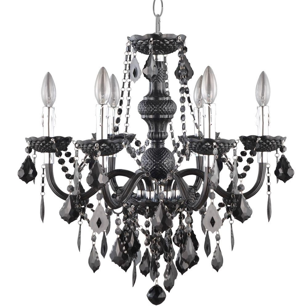 Hampton Bay 6 Light Chrome Maria Theresa Chandelier With Black For Black Chandelier (#7 of 12)