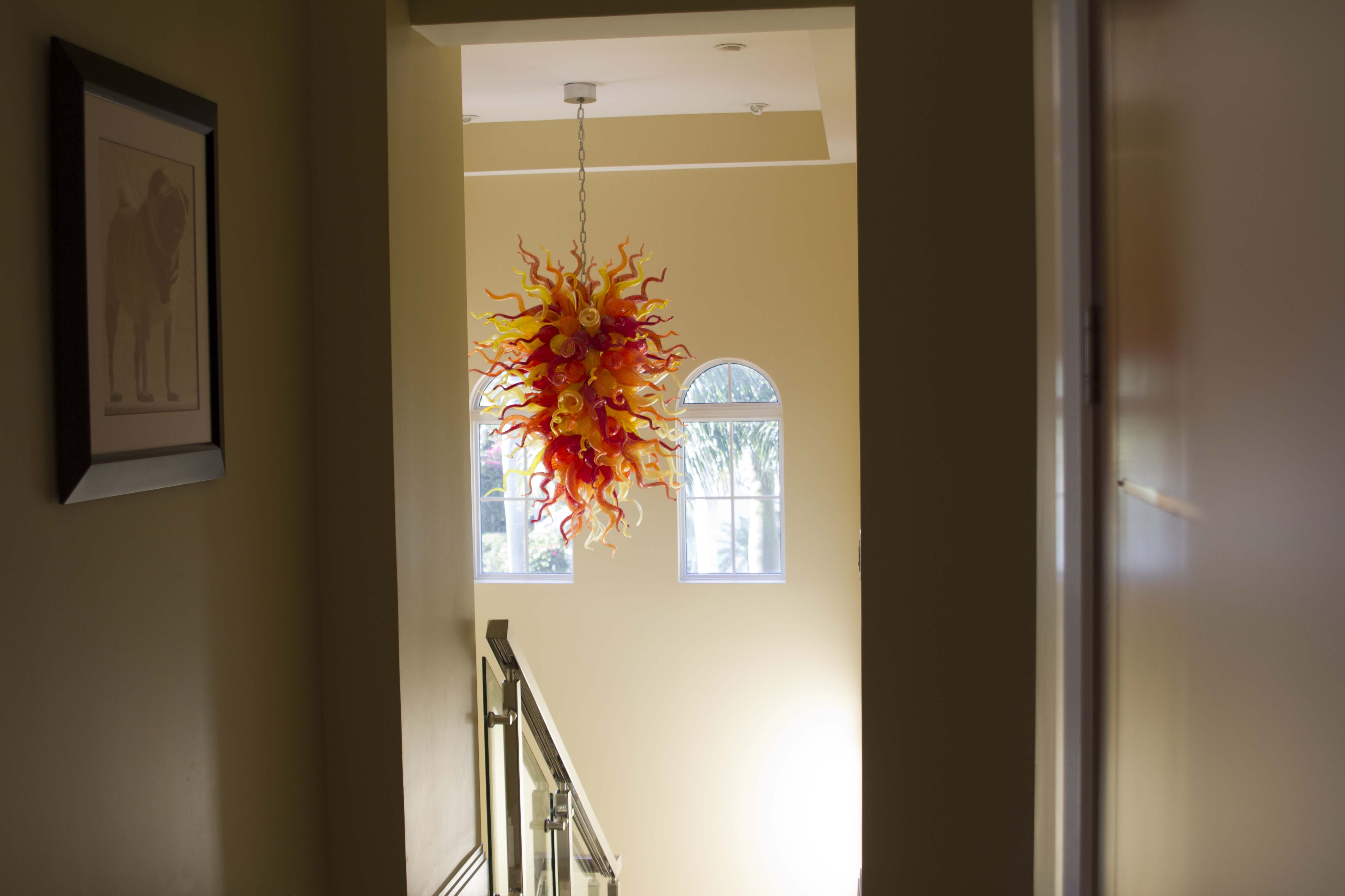 Hand Blown Belle Mead Hot Glass Intended For Stairwell Chandelier (#6 of 12)