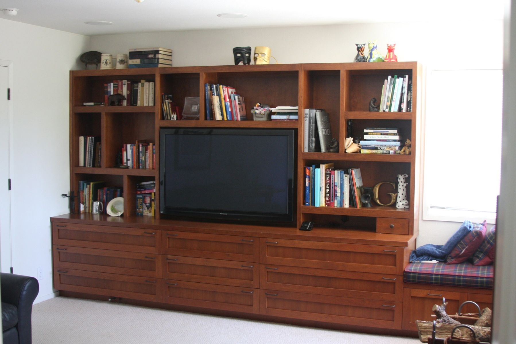 Hand Crafted Custom Cherry Bookcase With Tv Near West Throughout Tv Bookcases (#7 of 15)