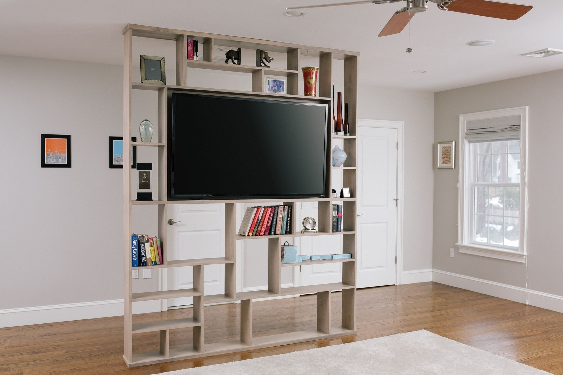 Hand Crafted Lexington Room Divider Bookshelf Tv Stand Corl With Bookshelf Tv Unit (#8 of 15)
