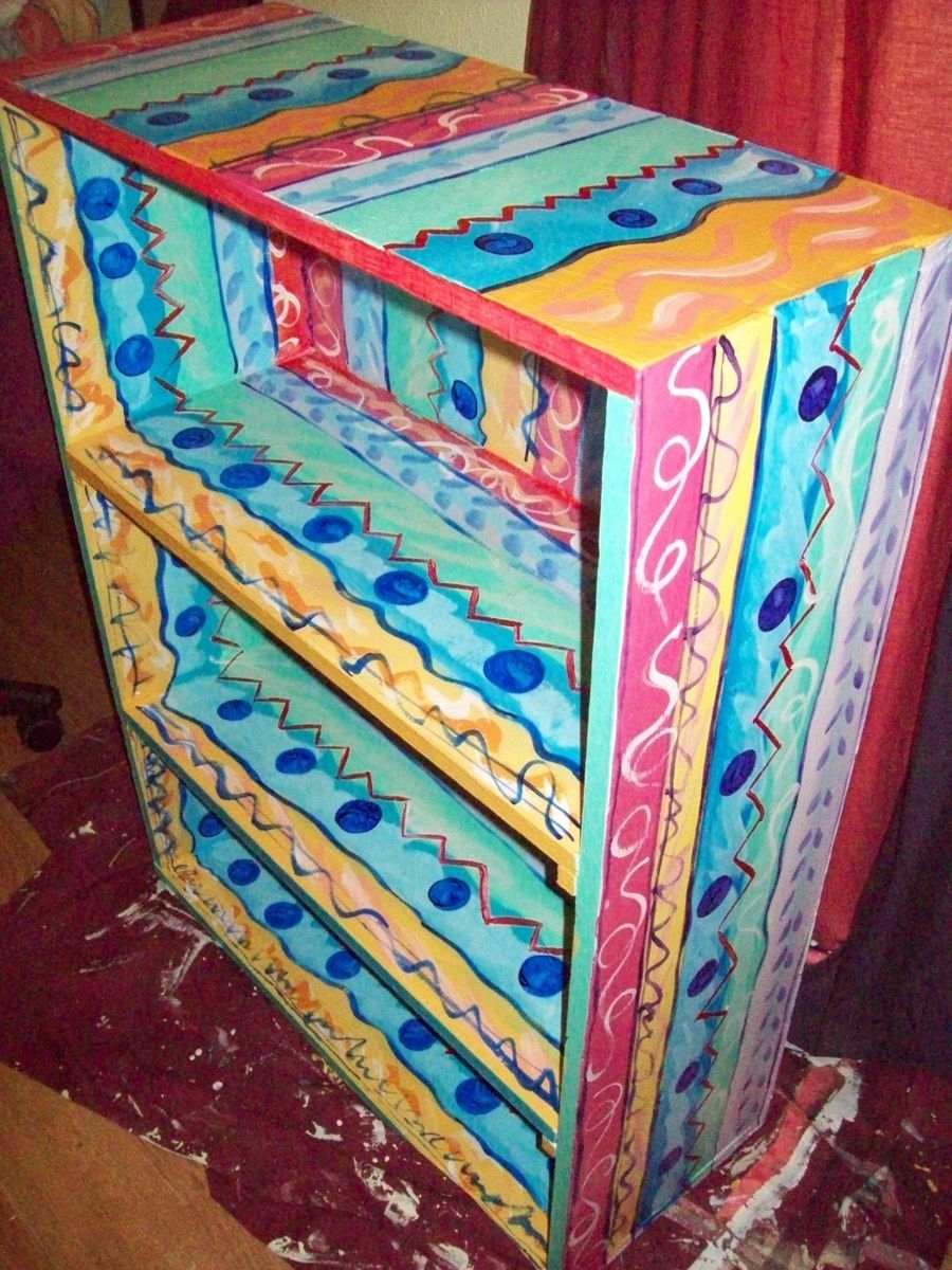 Hand Made Bookcase Handpainted Multicolored 4 Shelves I Paint With Hand Painted Bookcase (#12 of 15)