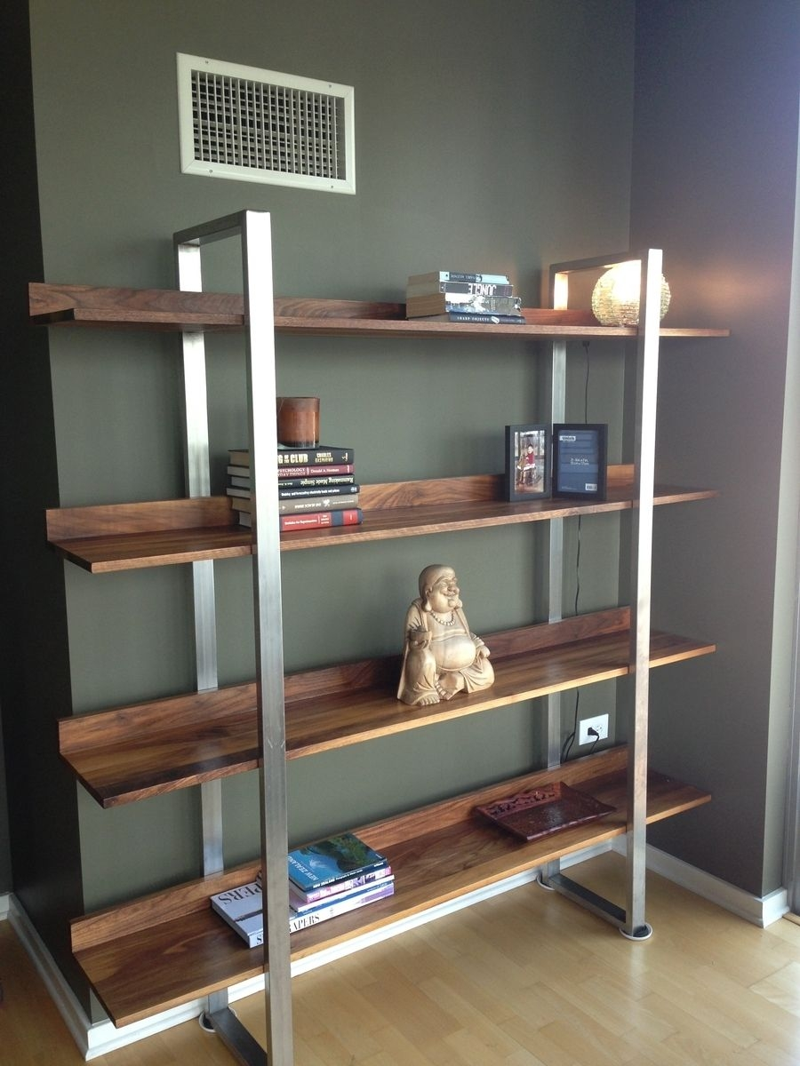 Hand Made Walnut Stainless Steel Modern Bookcase Metallums Intended For Modern Bookcase (#6 of 15)