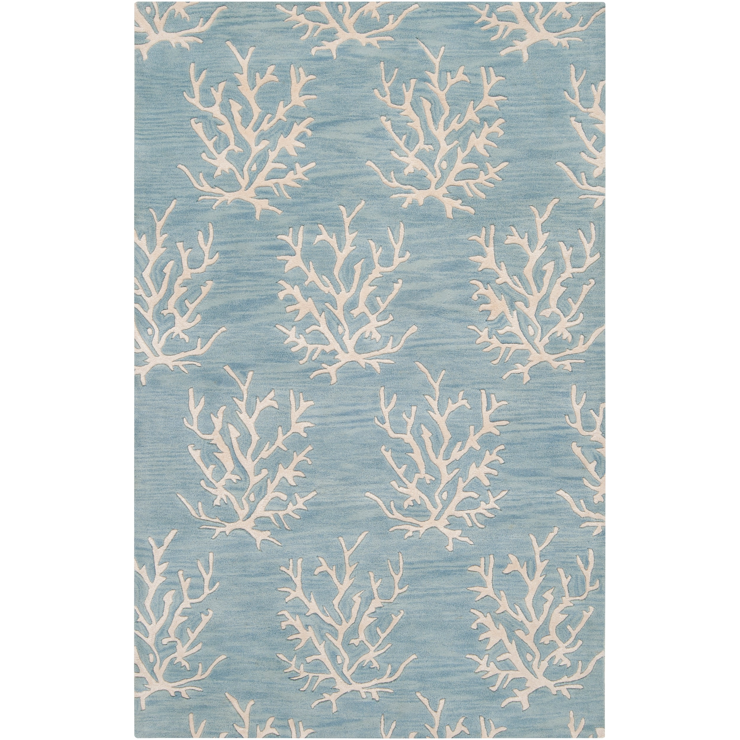 Hand Tufted Bacelot Bay Blue Beach Inspired Wool Area Rug 5 X 8 With Regard To 6×9 Wool Area Rugs (#2 of 15)