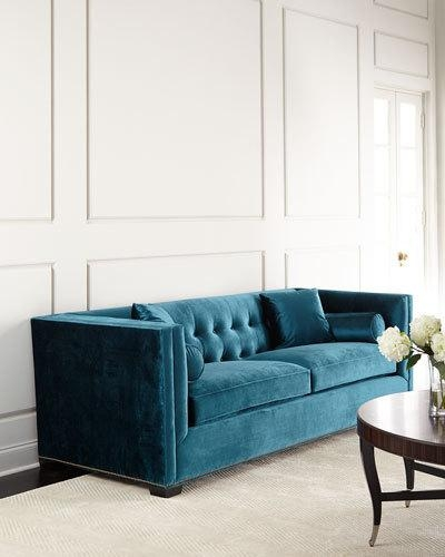 Handcrafted Tufted Sofa Neiman Marcus Inside Blue Tufted Sofas (#8 of 15)