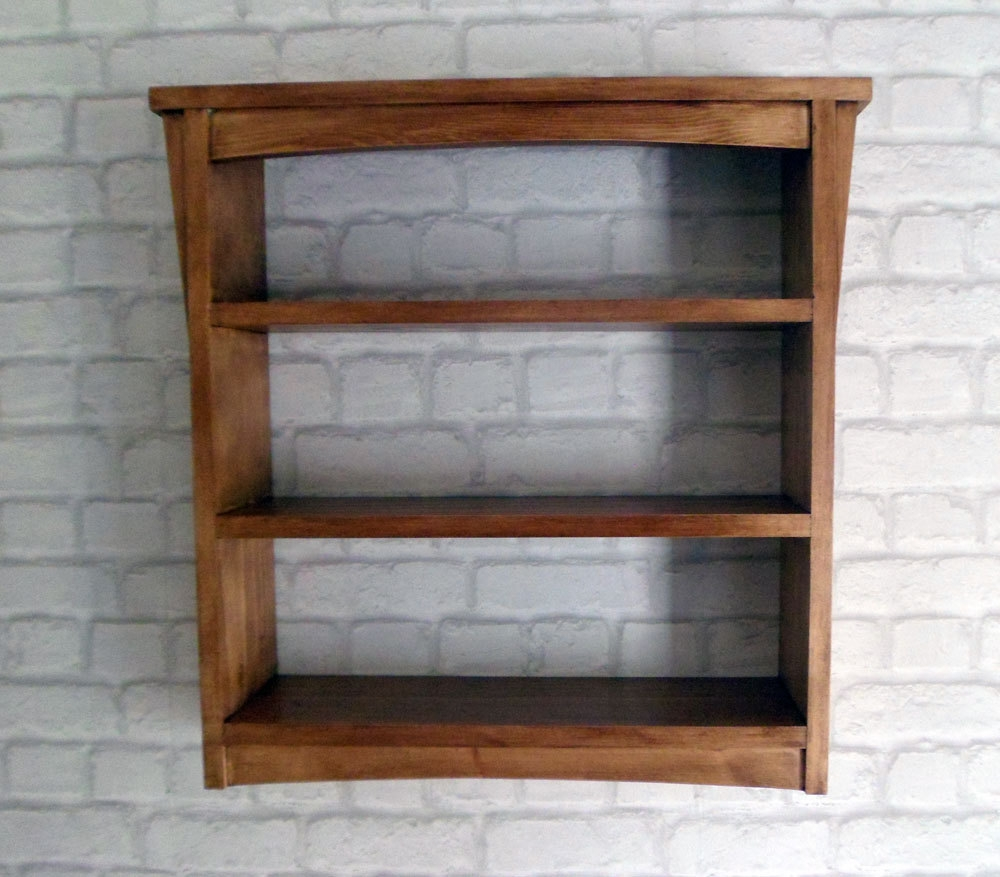 Handmade Arts And Crafts Style Wooden Wall Shelf Unit With Regard To Handmade Wooden Shelves (#5 of 15)