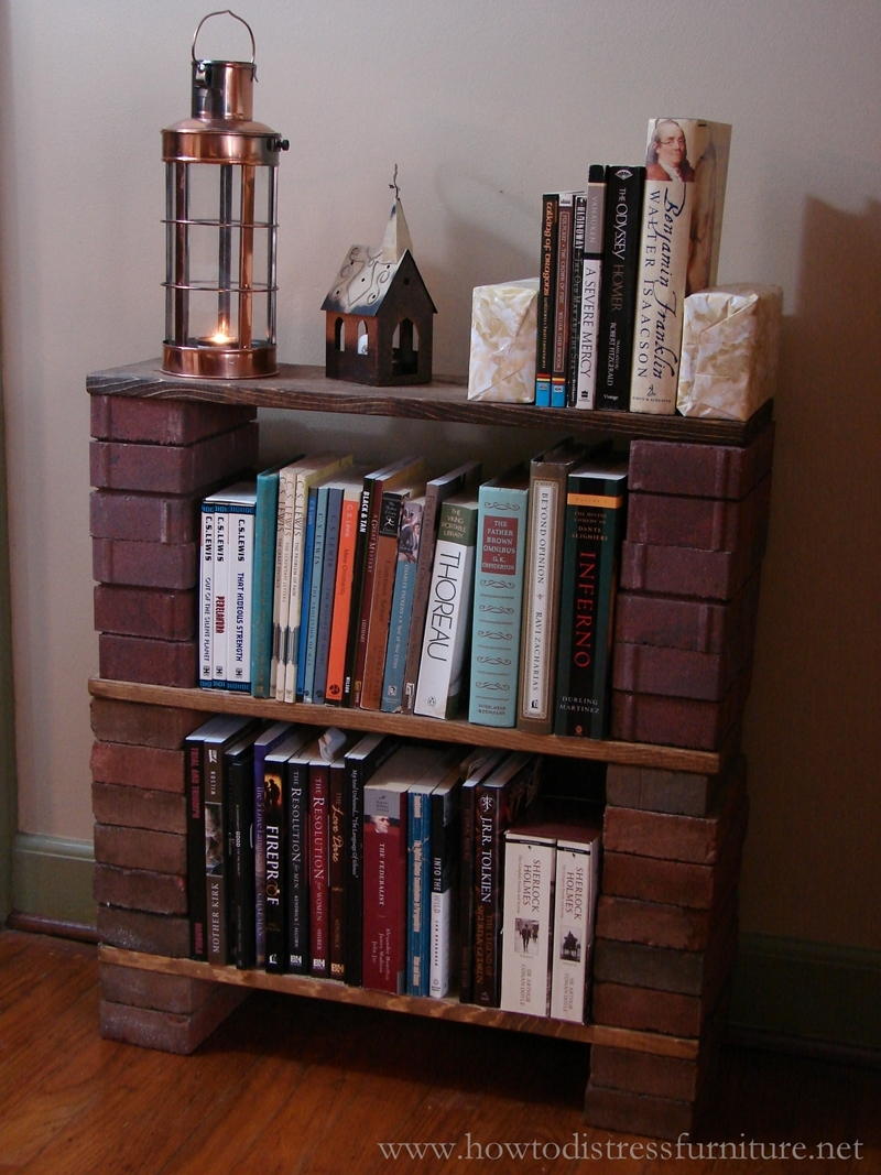 Handmade Brick Bookcase How To Distress Furniture Distressed Throughout Handmade Bookcase (#7 of 15)