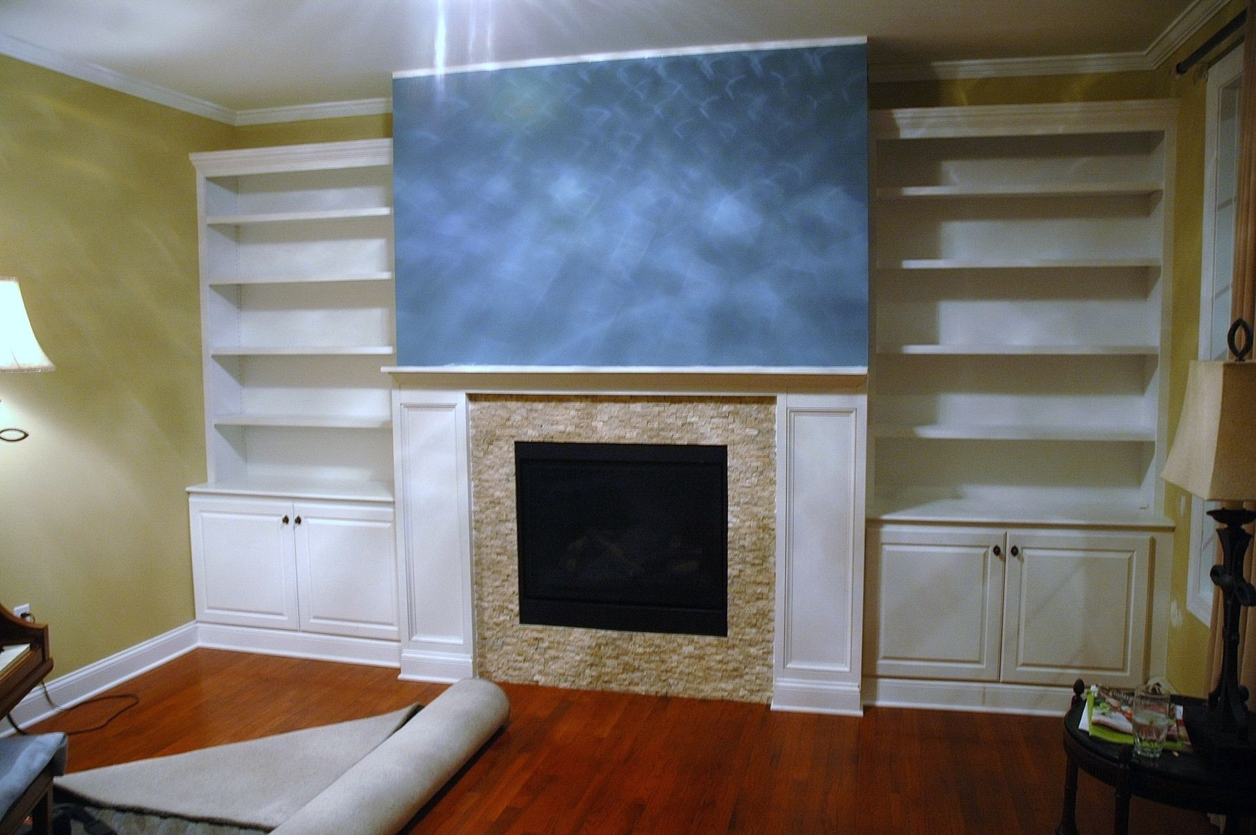 Handmade Built In Bookcases Base Cabinets And Fireplace Surround Regarding Bookcase With Cabinet Base (View 2 of 15)